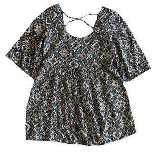 Blue Rain Blue Geometric Cross Back Tunic Shirt Size M